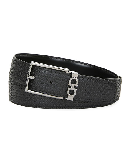 Salvatore Ferragamo Men's Gancini-Embossed Leather Belt