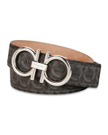 Salvatore Ferragamo Men's Oversize Allover Gancini-Print Leather Belt