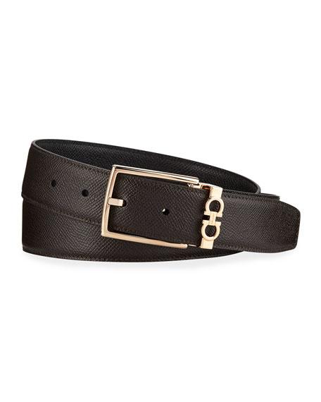 Salvatore Ferragamo Men's Textured Calf Leather Belt