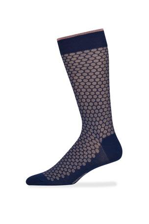 Marcoliani Men's Jacquard Dot Cotton Socks