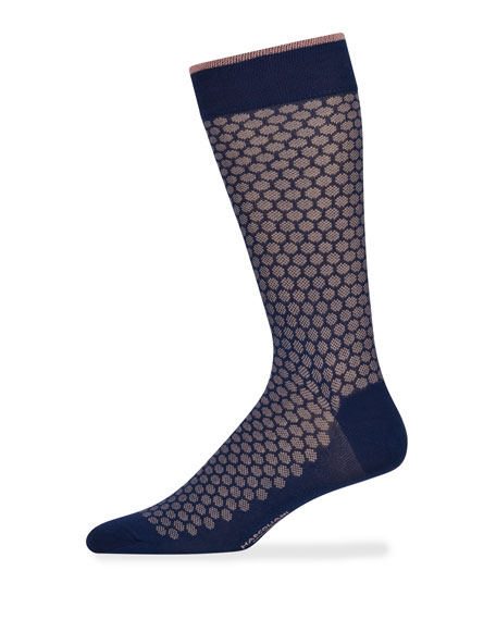 Marcoliani Men's Jacquard Dot Cotton Socks