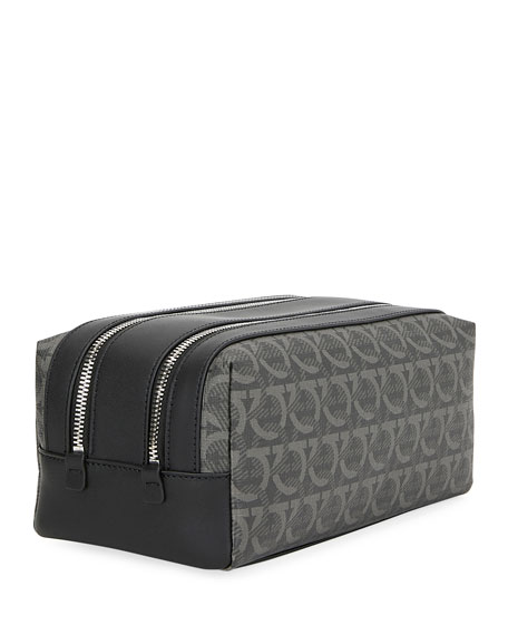 Salvatore Ferragamo Men's Gancini-Print Toiletry Travel Case