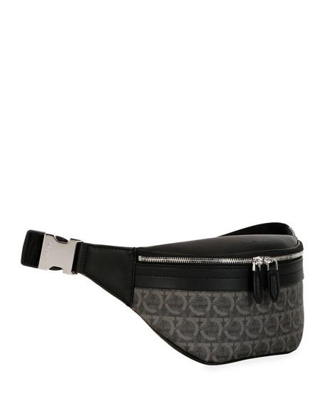 Salvatore Ferragamo Men's Gancini-Print Leather Belt Bag/Fanny Pack