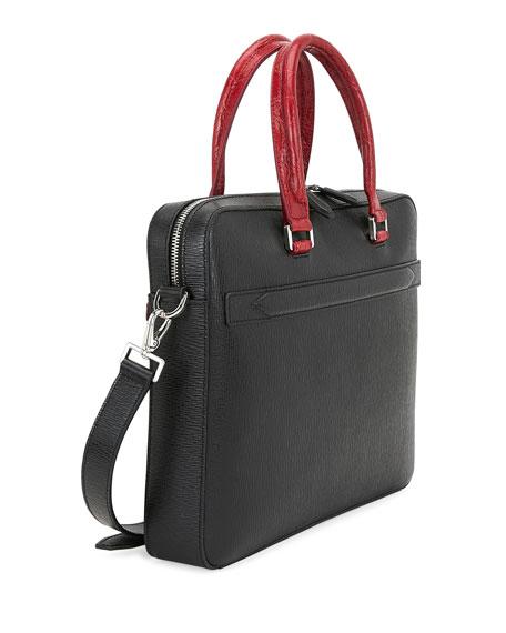 Salvatore Ferragamo Men's Crocodile Revival Two-Tone Leather Briefcase