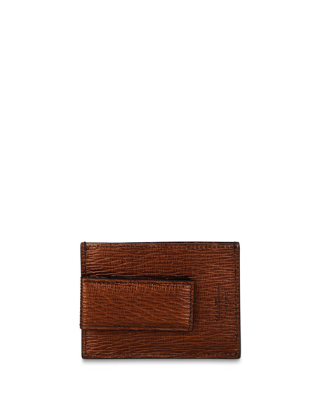 Salvatore Ferragamo Men's Textured Leather Card Case with Magnetic Clip
