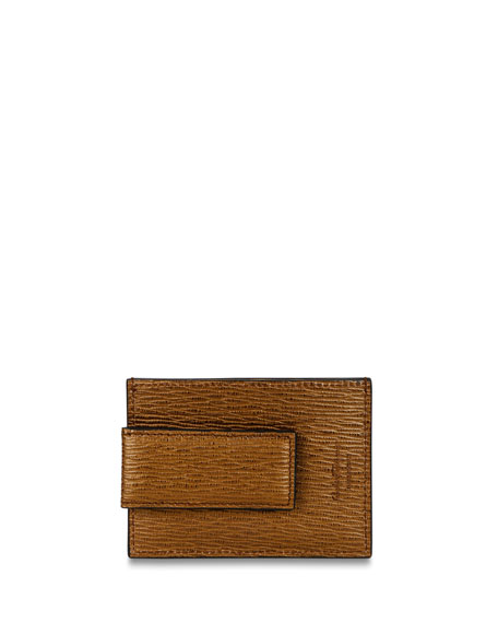 Salvatore Ferragamo Men's Textured Leather Card Case with Magnetic Clip