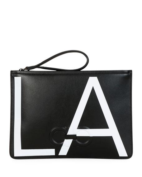 Salvatore Ferragamo Men's City LA Leather Pouch Bag