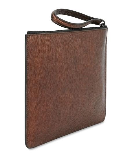 Salvatore Ferragamo Men's Revival Textured Leather Pouch Bag