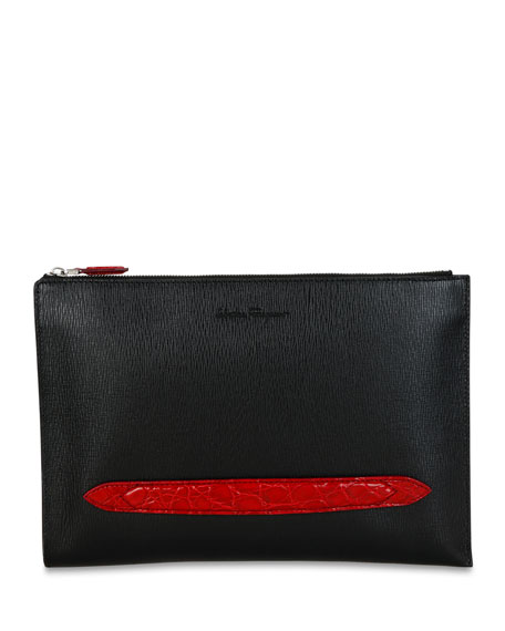 Salvatore Ferragamo Men's Crocodile Revival Textured Leather Portfolio Bag