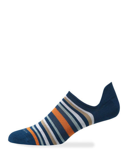 Marcoliani Men's Portofino Stripe No-Show Socks