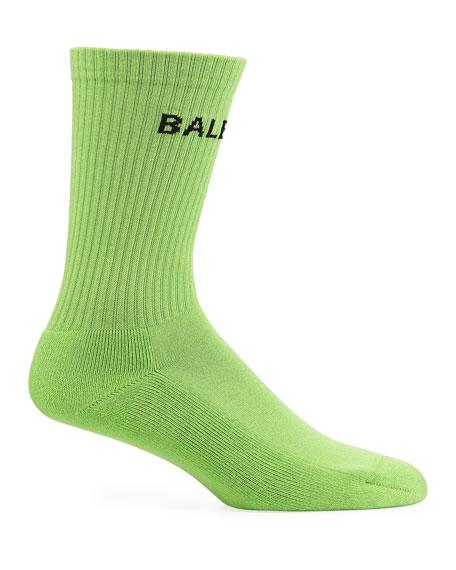 Balenciaga Men's Logo-Knit Tennis Socks