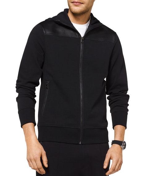 Michael Kors Men's Leather-Binding Zip-Front Hooded Jacket