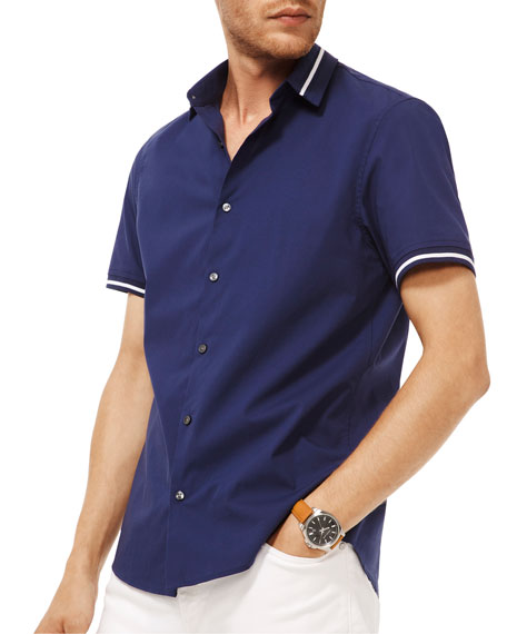 Michael Kors Men's Novelty-Collar Short-Sleeve Sport Shirt