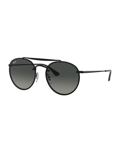 Men's Blaze Round Lens-Over-Frame Metal Sunglasses  - Gradient