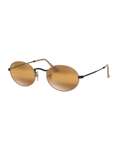 Men's Mirrored Oval Metal Sunglasses
