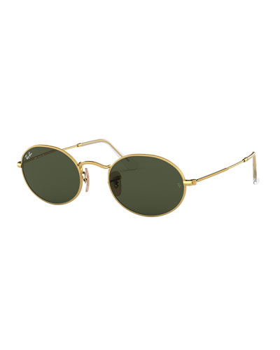 Men's Monochromatic Oval Metal Sunglasses