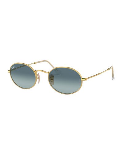 Men's Gradient Oval Metal Sunglasses