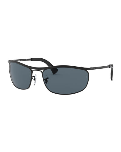 Men's Olympian Metal Sunglasses with Wraparound Bar - Solid