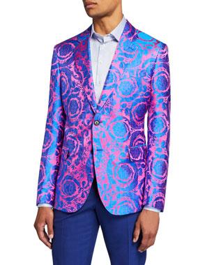 db30ee4c1 Versace Men's Multi-Pattern Neon Jacquard Formal Jacket