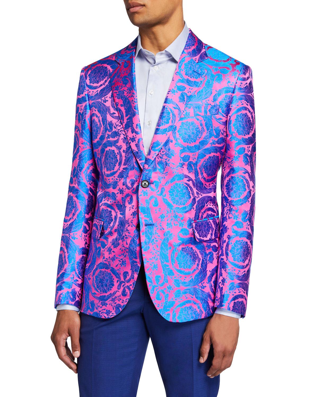 e2855c6403 Men's Multi-Pattern Neon Jacquard Formal Jacket