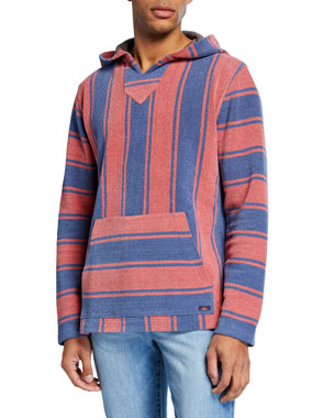 Faherty Men\u0027s Baja Striped Terry Poncho Sweater