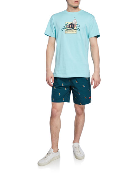 Icecream Men's Brich Rocketship-Print Drawstring-Waist Shorts