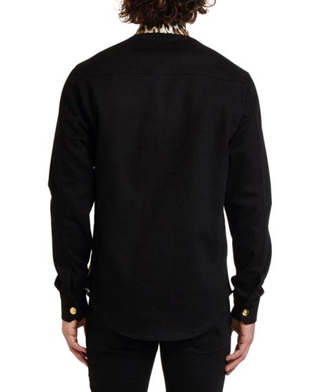 Versace Men's Twill Leopard-Print Shirt Jacket