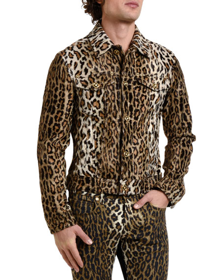 Versace Men's Leopard-Print Jean Jacket
