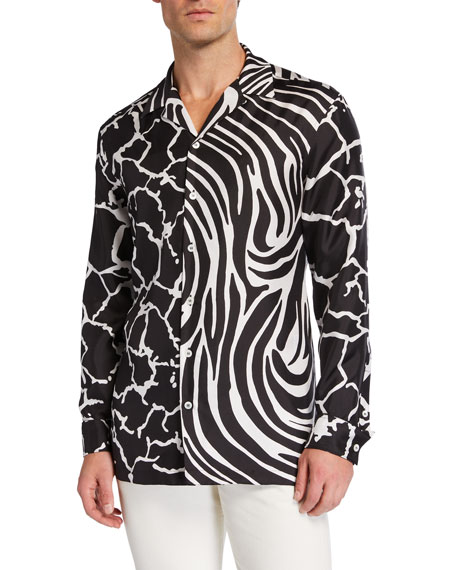 Versace Men's Zebra/Giraffe Printed Long-Sleeve Silk Shirt