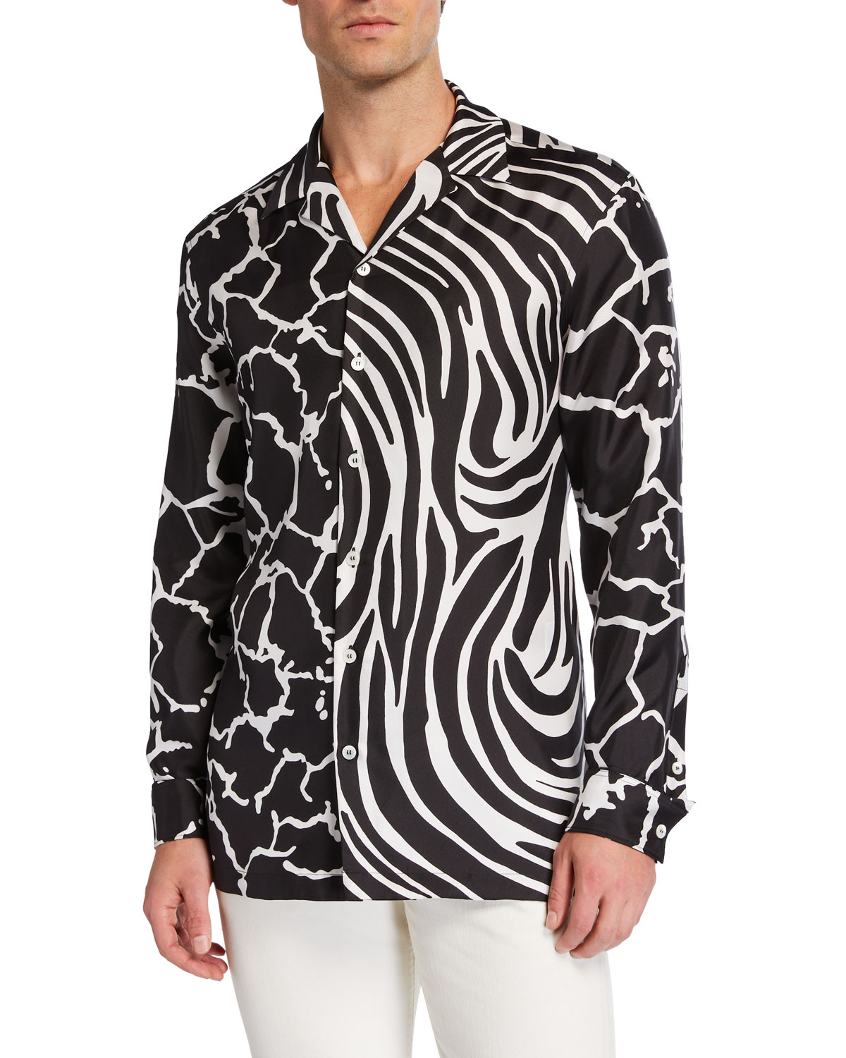 ef21151c Men's Zebra/Giraffe Printed Long-Sleeve Silk Shirt