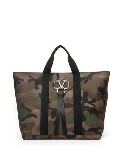 Men's Camouflage Tote Bag with Go Logo Ribbon