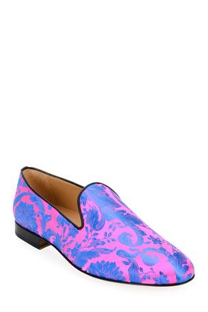 Versace Men's Silk Barocco Jacquard Slippers