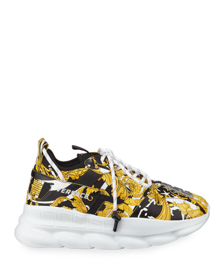 Versace Men's Runway Chain Reaction Barocco-Print Sneakers