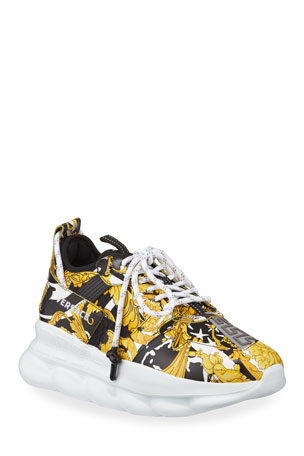 Versace Men's Runway Chain Reaction Barocco-Print Sneakers