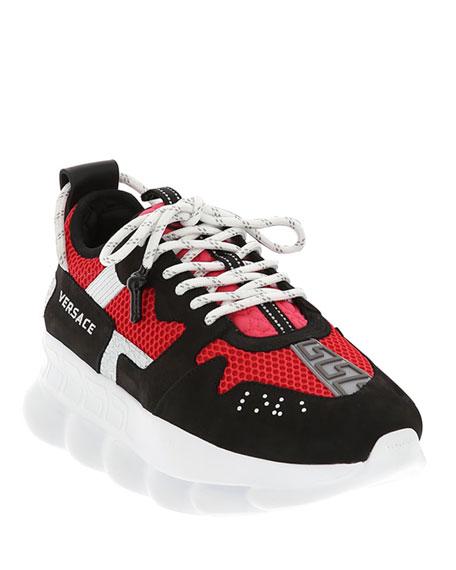 Versace Men's Runway Chain Reaction Colorblock Sneakers