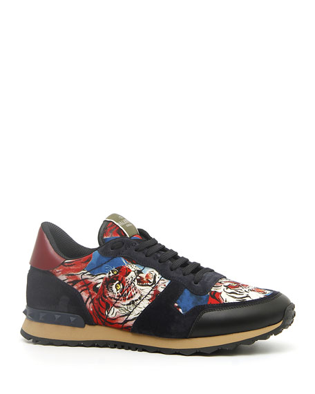 Valentino Garavani Men's Rock Runner Tiger-Print Trainer Sneakers