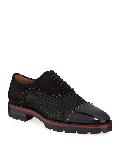 Men's Champignac Red-Sole Spiked Leather Jacquard Oxford Shoes