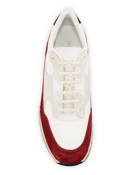 Common Projects Men's Track Classic Colorblock Suede Sneakers