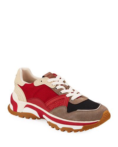 Men's Mixed-Media Trainer Sneakers