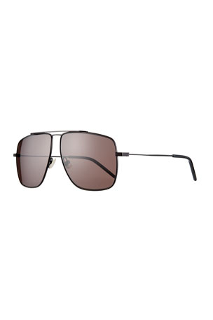 Saint Laurent Men's Square Metal Brow-Bar Sunglasses
