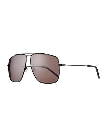 Saint Laurent Men's Square Metal Brow-Bar Sunglasses