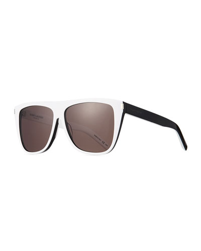 Men's Rectangle Acetate Sunglasses  White