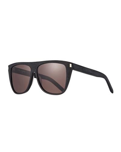 Men's Black-Pattern Rectangle Acetate Sunglasses