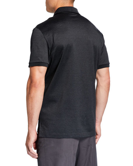 Salvatore Ferragamo Men's Vertical Line Blocked Polo Shirt