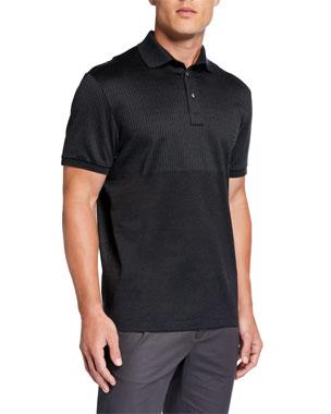 701b1a909 Salvatore Ferragamo Men's Vertical Line Blocked Polo Shirt