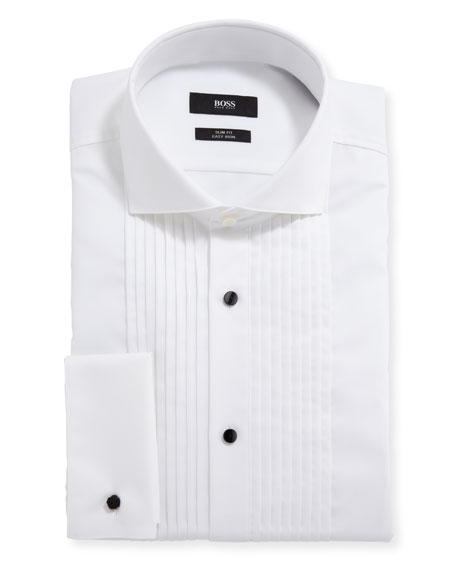 BOSS Men's Slim-Fit Easy Iron Pleated Bib Tuxedo Shirt