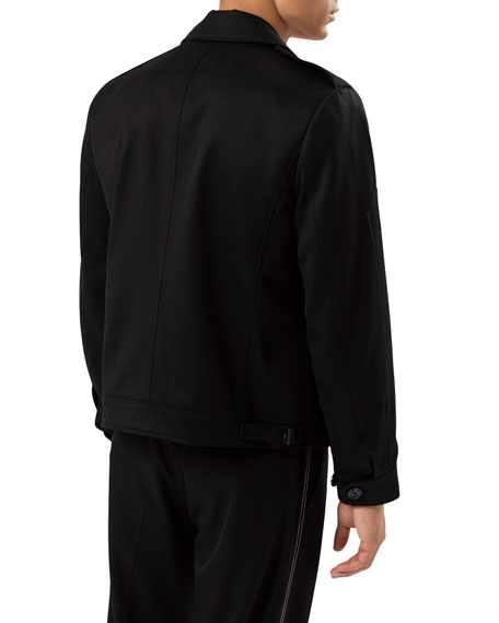 Ovadia Men's Twill Button-Front Jacket with Pin Details