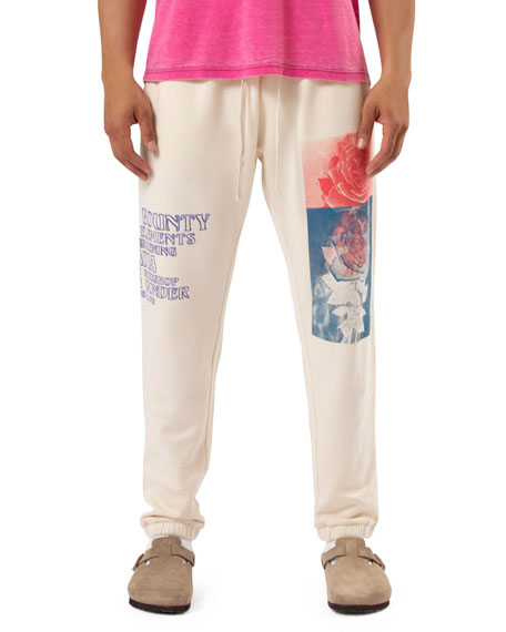 Ovadia & Sons Men's Rose Print Cotton Lounge Pants