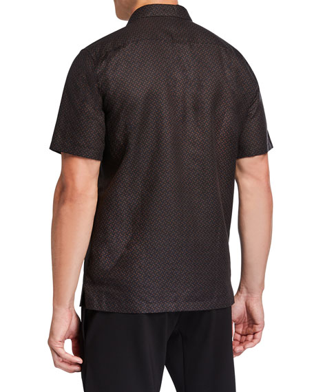Theory Men's Linen-Cotton Patterned Sport Shirt