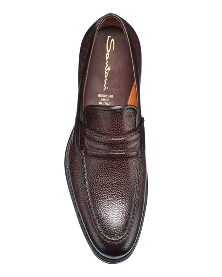 Santoni Men's Nia Pebbled Leather Penny Loafers